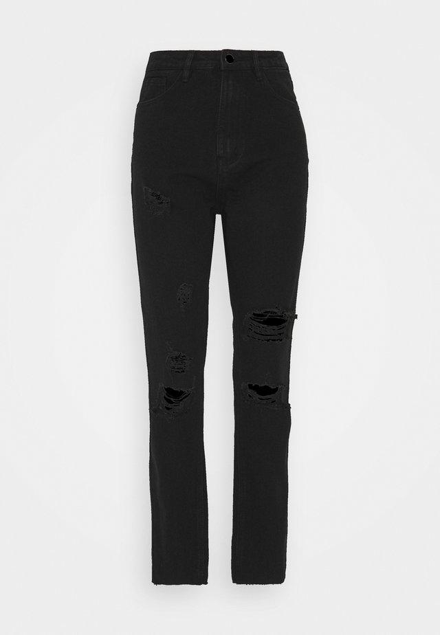STRAIGHT DISTRESSED - Straight leg jeans - black