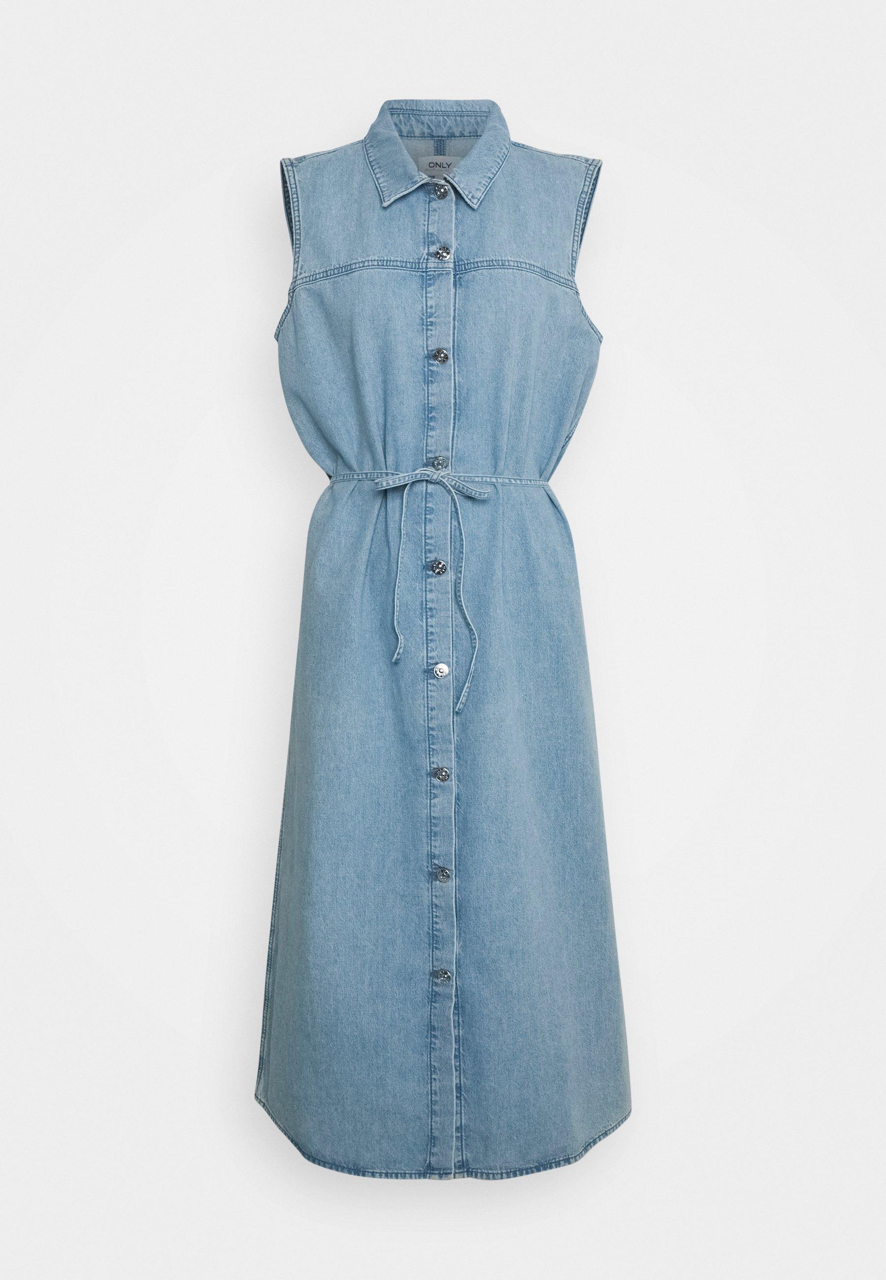 Damen ONLNINA BELT BUTTON DRESS - Jeanskleid