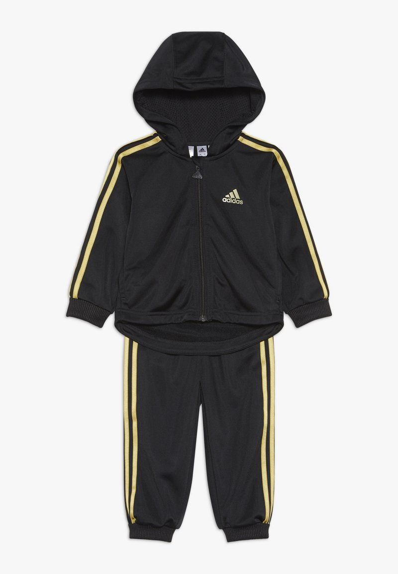 adidas Performance - SHINY FULL ZIP HOODED TRACKSUIT BABY SET - Verryttelypuku - black/gold