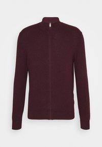 Burton Menswear London - FINE GAUGE ZIP THROUGH - Strickjacke - burgundy - 4