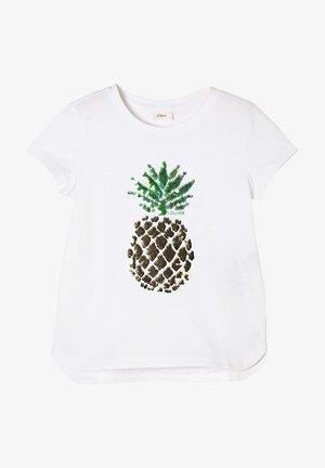 MIT PAILLETTEN-MOTIV - Print T-shirt - white