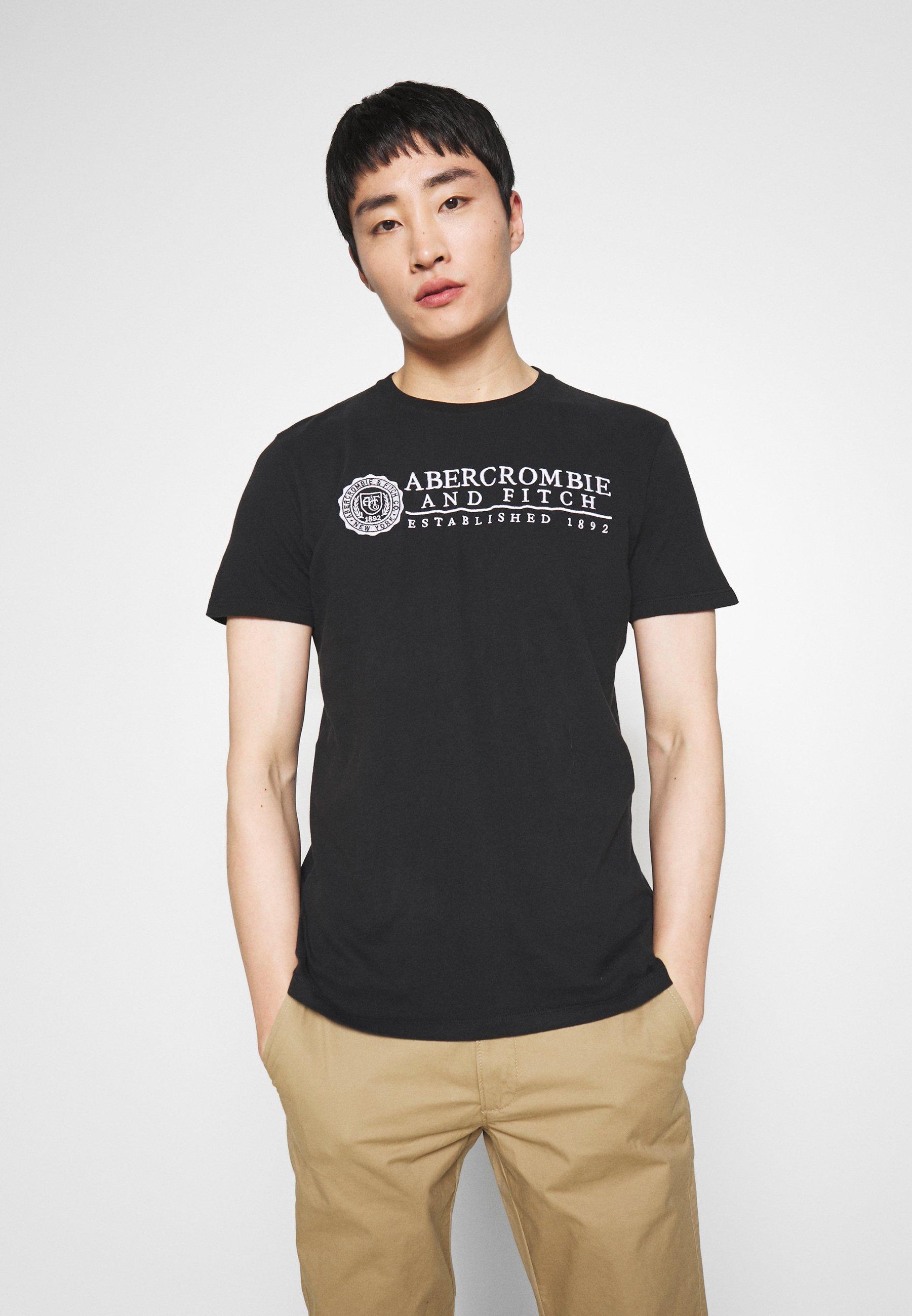 Abercrombie & Fitch HERITAGE - T-shirt z nadrukiem - black - Odzież męska Tani