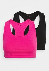 SEAMLESS 2 PACK - Light support sports bra - neon pink/black