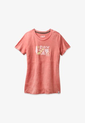 T-shirt con stampa - sunset coral heather