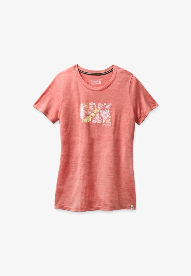 T-shirt print - sunset coral heather