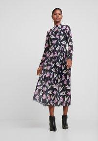 TOM TAILOR DENIM - PRINTED MESH DRESS - Day dress - black abstract flower print grey - 1
