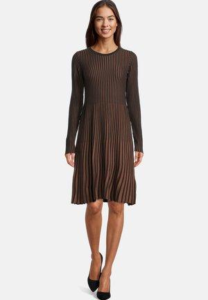 Gebreide jurk - schwarz/braun