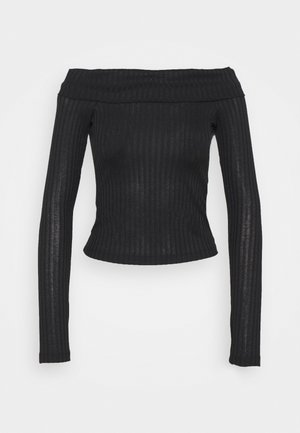 LONG SLEEVE OVERLAP - Long sleeved top - black