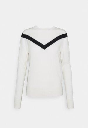V LINE HIGH NECK - Jumper - white