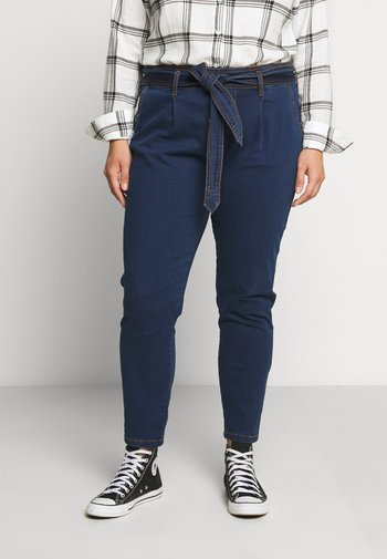 CROPPED WITH BELT - Relaxed fit jeans - blue denim
