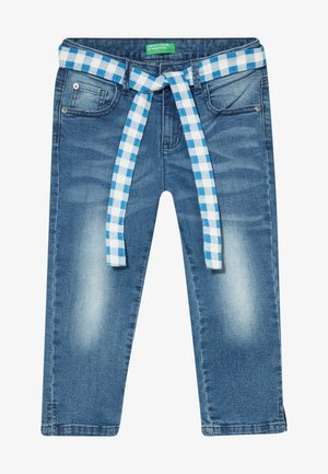 TROUSERS BELT - Denim shorts - blue denim