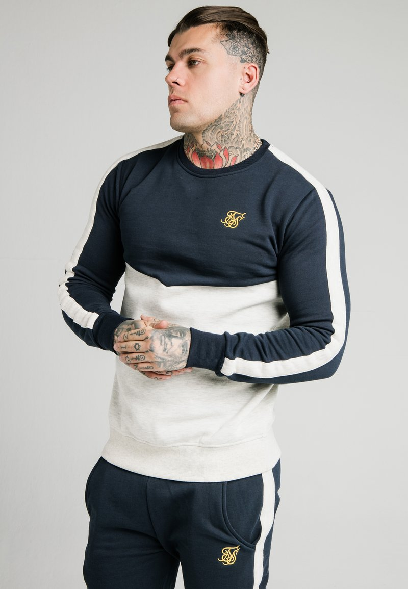 SIKSILK - CUT AND SEW CREW - Sweatshirt - navy/snow marl