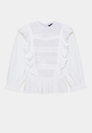 PINTUCK RUFFLE TRIM - Top sdlouhým rukávem - white