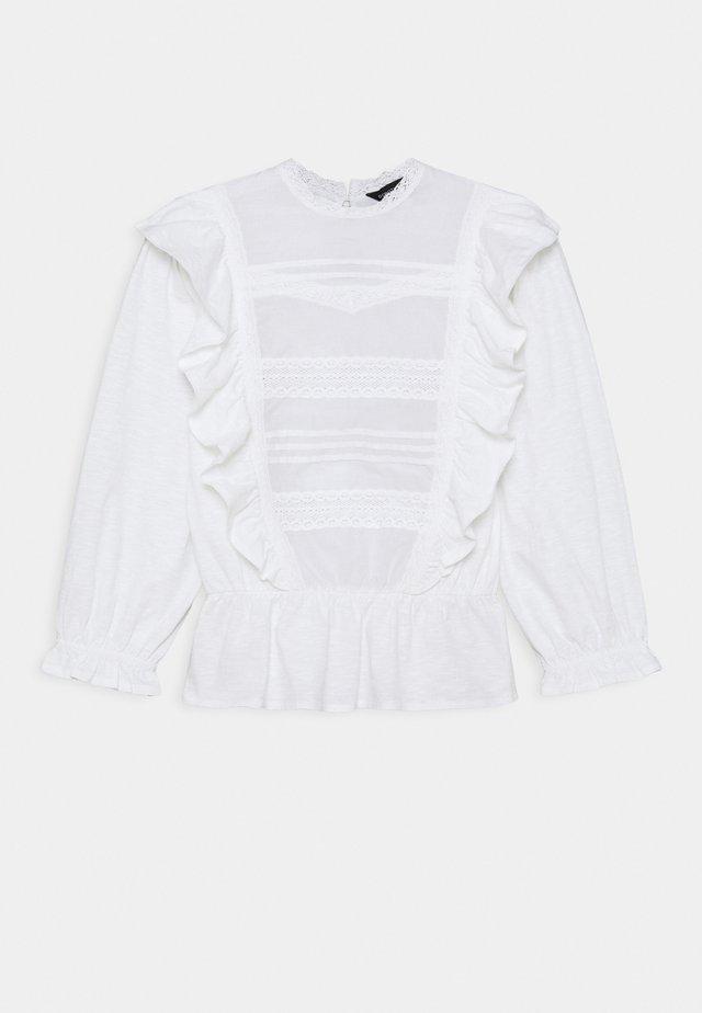 PINTUCK RUFFLE TRIM - Long sleeved top - white