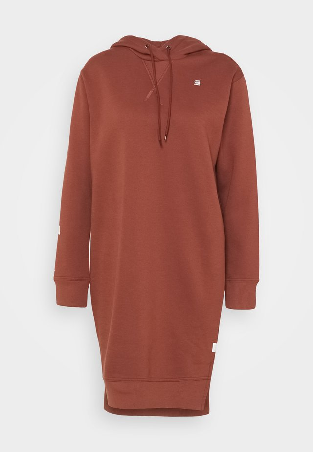 GRAPHIC TEXT BF HOODED - Jumper dress - cinnamon red