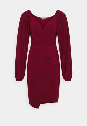 BALLOON SLEEVE SLINKY V NECK DRESS - Sukienka letnia - burgundy