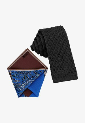CRAVATTA MAGLIA & ARTEQUATTRO SET - Pocket square - schwarz   schoko braun marine blau paisley gemustert