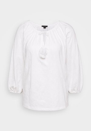 EMBROIDERED TASSEL TEE - Long sleeved top - white
