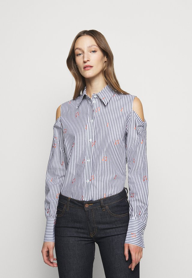 BOW SHOULDER - Blouse - blue/white