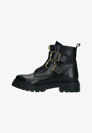 MIT GOLDENEN SCHNALLEN UND REISSVERSCHLUSS - Cowboy/biker ankle boot - schwarz