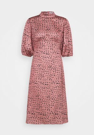 PUFF SLEEVE HIGH COLLAR MIDI DRESS - Denní šaty - rose