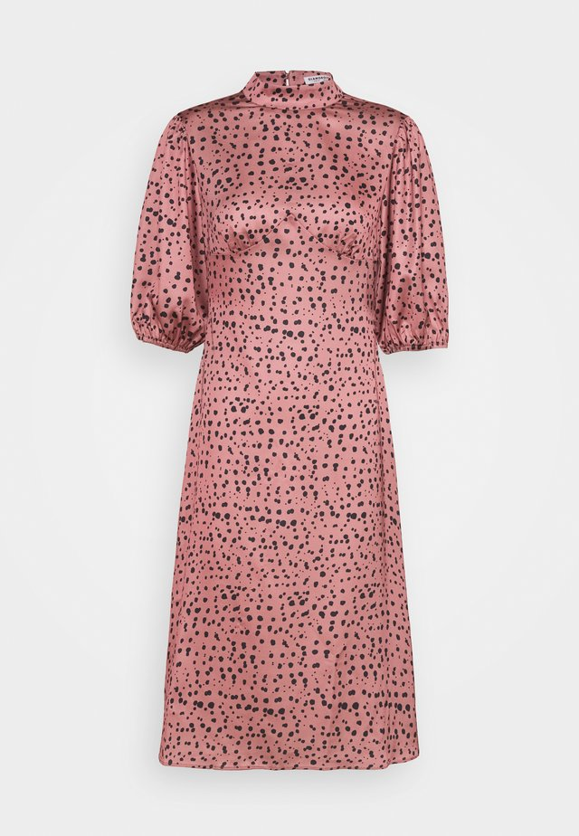 PUFF SLEEVE HIGH COLLAR MIDI DRESS - Korte jurk - rose