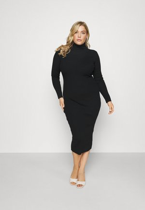 RECYCLED ROLL NECK RIBBED MIDIAXI DRESS - Jumper dress - black