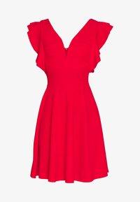 WAL G TALL - V NECK FRILL SLEEVE FIT FLARE DRESS - Žerzejové šaty - red - 4