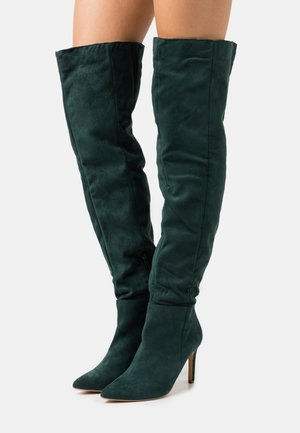 MID HEEL OVER THE KNEE BOOTS - Kozaki na obcasie - deep green