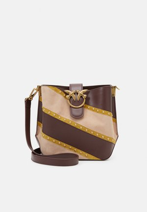 LOVE BUCKET WOODSTOCK SETA SCAMOSCIATO INTARSIO - Across body bag - senape/bordeaux/light pink
