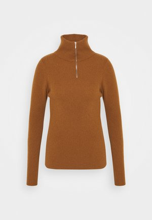 ELISE SKINNY WITH ZIP - Jumper - dark camel