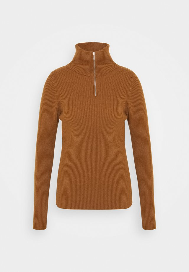 ELISE SKINNY WITH ZIP - Pullover - dark camel