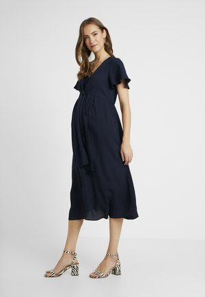 MIDI DRESS FRONT NECK DROP - Day dress - navy
