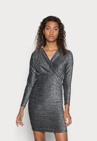ONLY - ONLDARLING WRAP GLITTER DRESS - Cocktail dress / Party dress - black/silver - 0