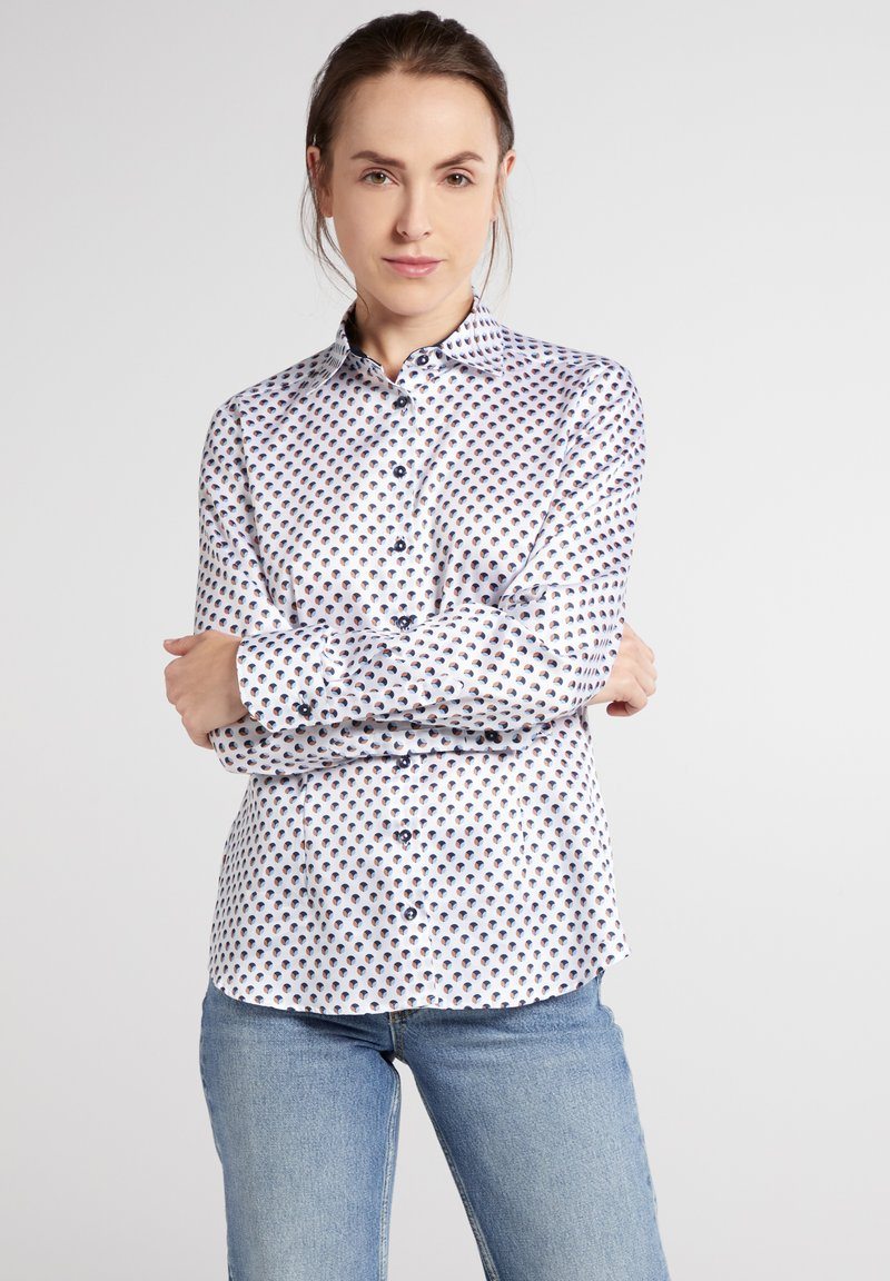 Eterna - Button-down blouse - weiss/braun/blau