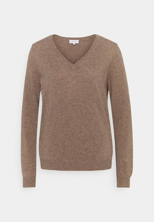 V NECK LOOSE - Sweter - mink