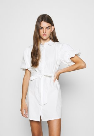 PUFF SLEEVE BELTED DRESS POPLIN - Abito a camicia - white
