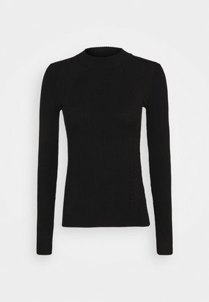 MIXED RIB JUMPER - Svetr - black