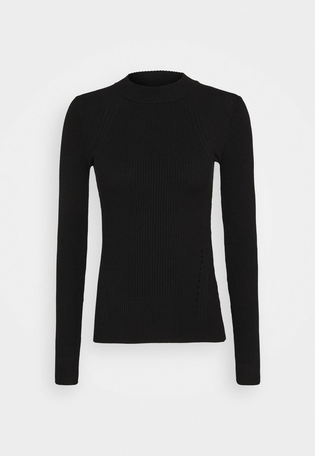 MIXED RIB JUMPER - Jumper - black