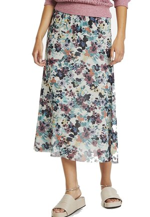 A-line skirt - vivid floral print white
