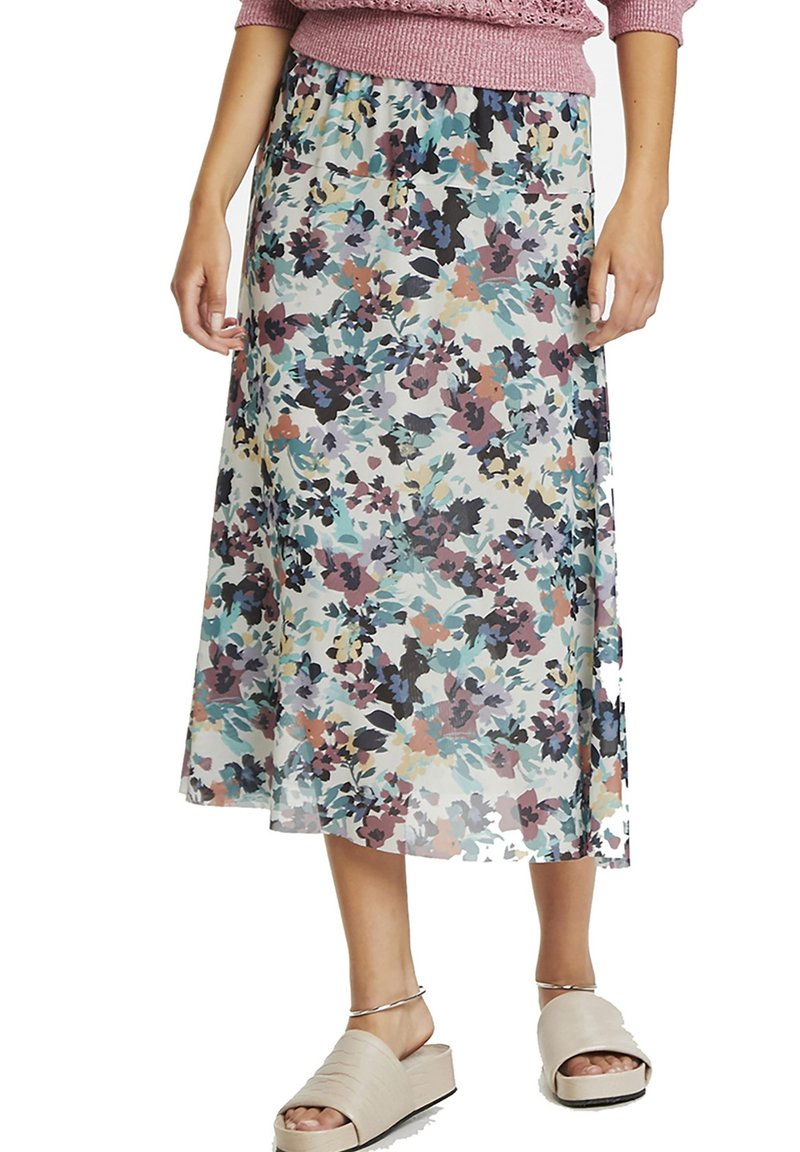 Soaked in Luxury - A-line skirt - vivid floral print white