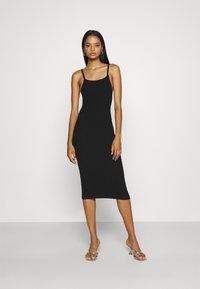 Missguided - SQUARE NECK MIDI DRESS - Day dress - black - 0