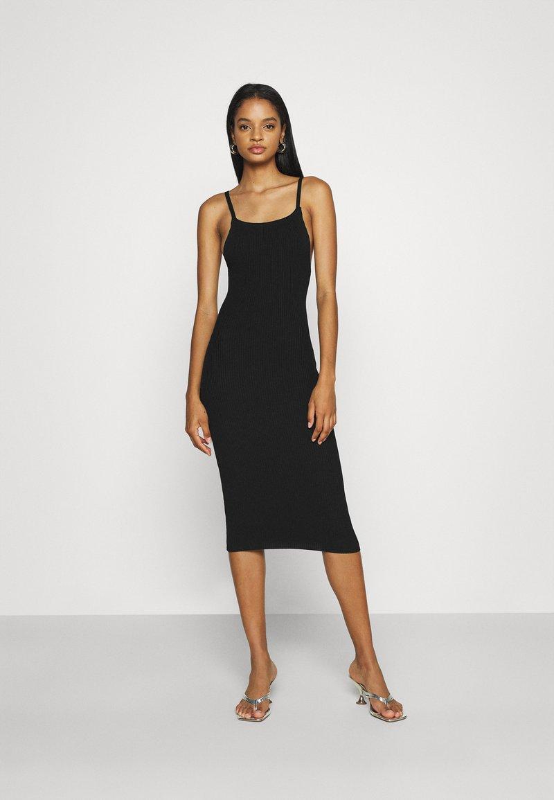 Missguided - SQUARE NECK MIDI DRESS - Day dress - black