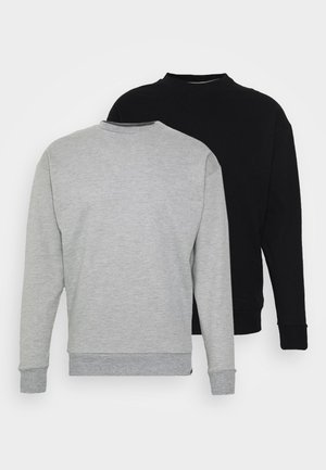 NEWPORT CORE CREW 2 PACK - Sweatshirt - black/grey marl