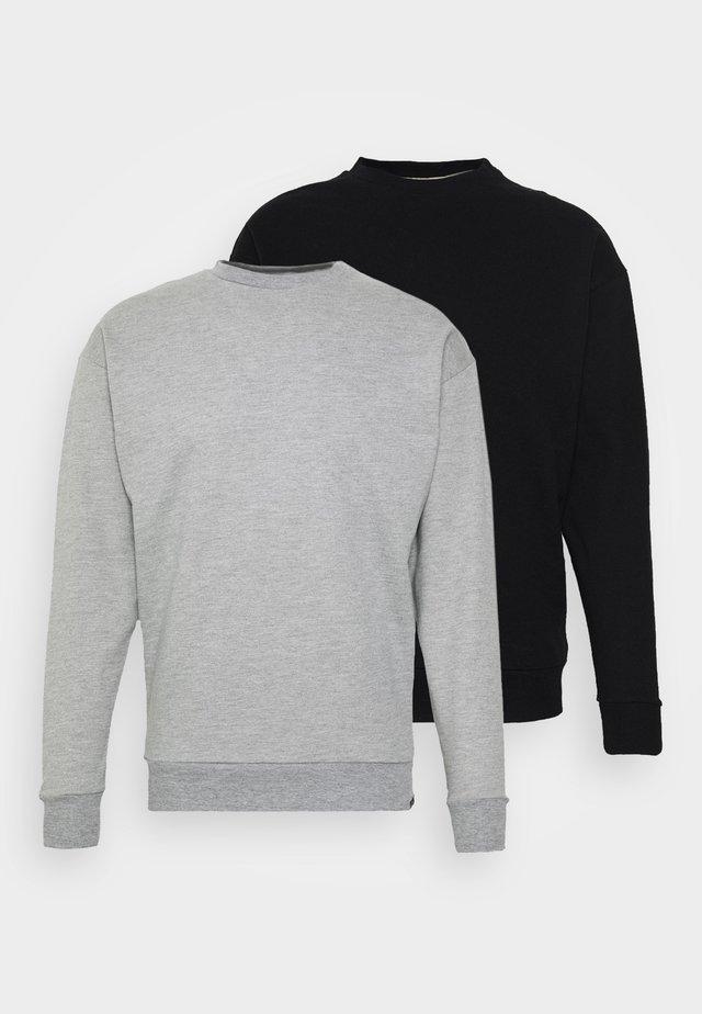 NEWPORT CORE CREW 2 PACK - Sweatshirt - black/grey marl