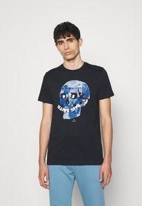 PS Paul Smith - SLIM FIT FLORAL SKULL LOGO - Print T-shirt - dark blue - 0