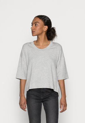 CROPPED WIDE FIT WIDER SHORT SLEEVES - Basic T-shirt - stony grey melange