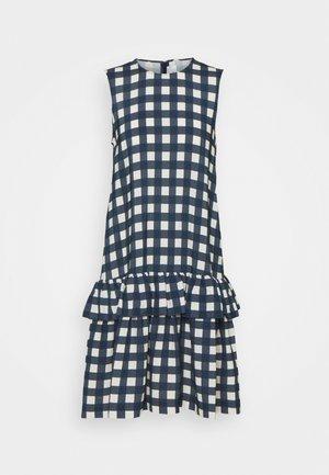 SLEEVELESS FLOUNCE HEM PRINTED FAILLE DRESS - Sukienka letnia - blue/white