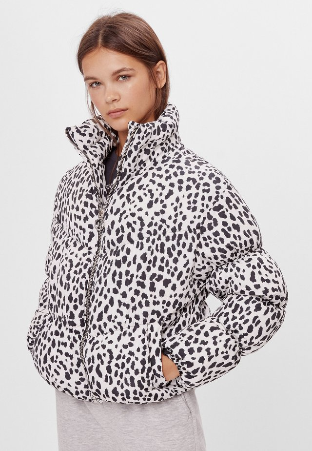PUFFJACKE MIT RAFFUNG  - Winter jacket - stone