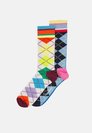 HALF ARGYLE AND STRIPE SOCK UNISEX 2 PACK - Socks - multi